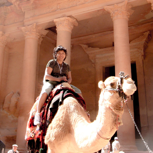 riding a camel in Jordan
